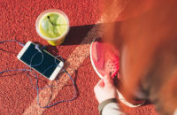 smoothie, smartphone and shoe for exercise