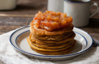 pumpkin pancakes with apple butter