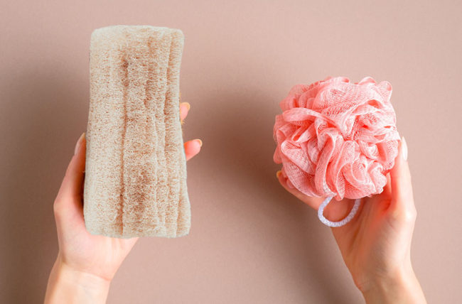 Natural and plastic loofahs