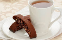 chocolate walnut biscotti with tea