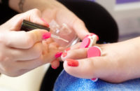 Toenail polish during pedicure