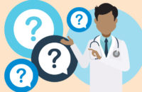 Illustration of doctor explaining 4 questions
