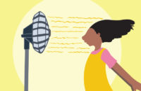Child cooling off in front of a fan