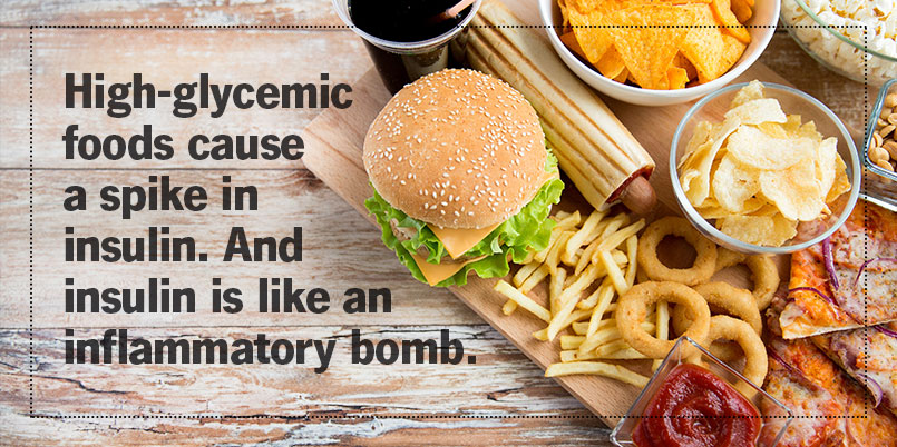 High-glycemic foods cause a spike in insulin. And insulin is like an inflammatory bomb.