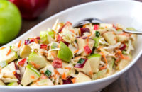 holiday cabbage slaw with apples and cranberries