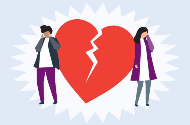 illustration of a couple with broken hearts