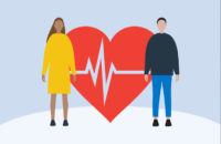 Illustration of a man and woman standing in front of a heart at risk
