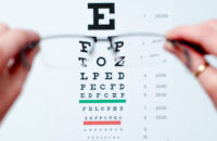 eye chart seen through glasses