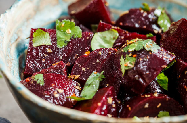 Roasted Beets with Balsamic Vinegar and Herbs
