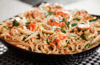 salmon fettuccine with vegetables