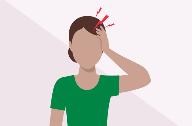 woman with headache on one side only