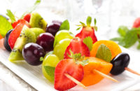 fruit kabob with mint