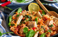 recipe cod spinach rice and tomatoes