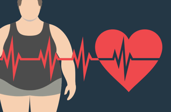 Illustration of an obese man and a heart rhythm line