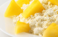 Closeup of cottage cheese and pineapple
