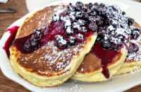 pancakes with homemade blueberry sauce