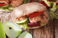 Tuna pita sandwich with apple slices