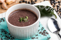 Black bean soup with poblano peppers