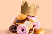 Pile of donuts wearing crown