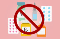 Various medications with a warning symbol over them