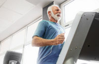 Elderly man on treadmill