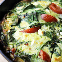 Skillet frittata with spinach and feta cheese