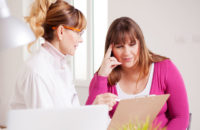 Woman meeting with doctor or nutritionist about diet and diabetes