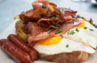 Protein as bacon, sausage, eggs for breakfast