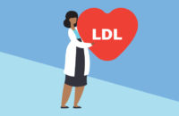Illustration of doctor focusing on LDL cholesterol