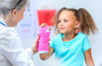 Child getting a cast on her broken arm