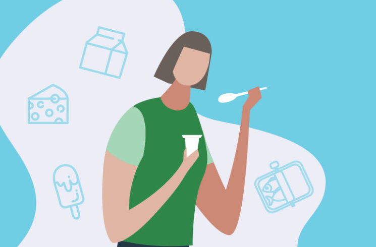 illustration of woman eating yogurt with other sources of calcium floating in back