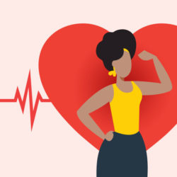 illustration of Fit woman displaying heart health
