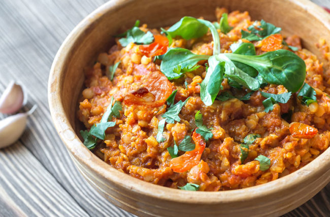 Lentil curry with roasted tomatoes