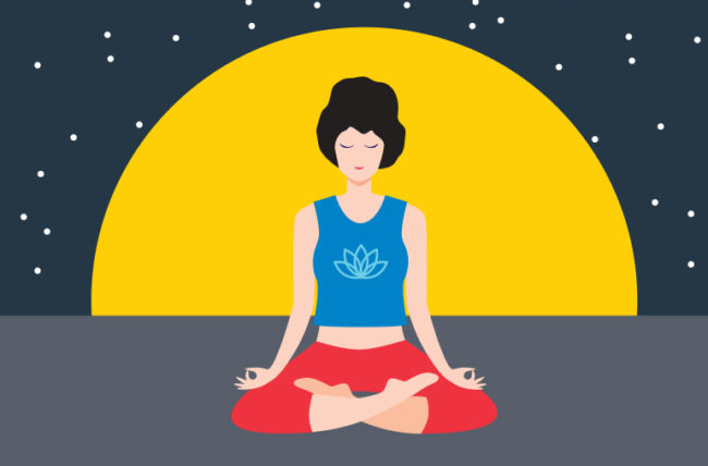 Illustration of woman meditating at night to relax