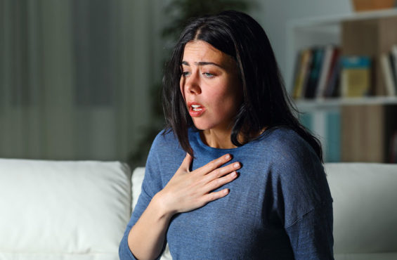 Woman having a panic attack