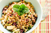 A bowl of high fiber lentil salad