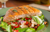 salmon and warm cannellini bean salad