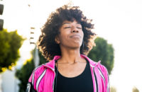 woman take deep breathes to relieve stress
