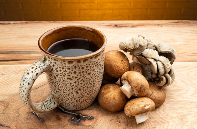 Mug of Coffee with Mushrooms