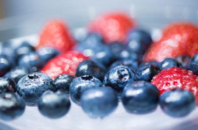 Plate of blueberries and strawberries