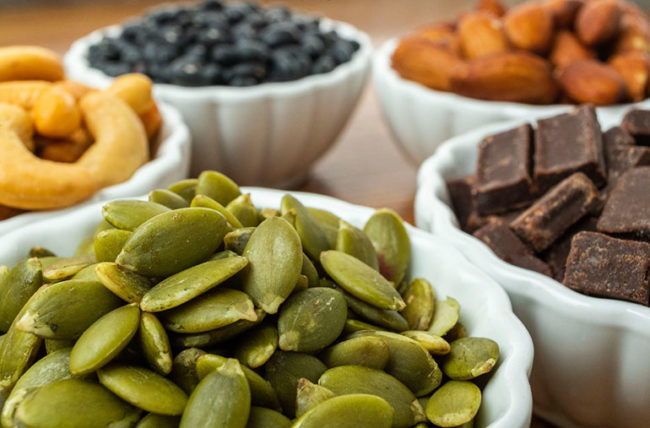 pumpkin seeds, dark chocolate and other magnesium rich foods