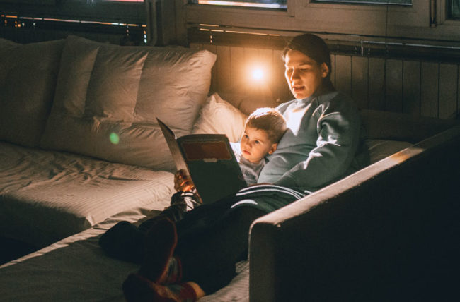 mom and child read before bedtime
