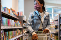woman shopping with mask during conronavirus