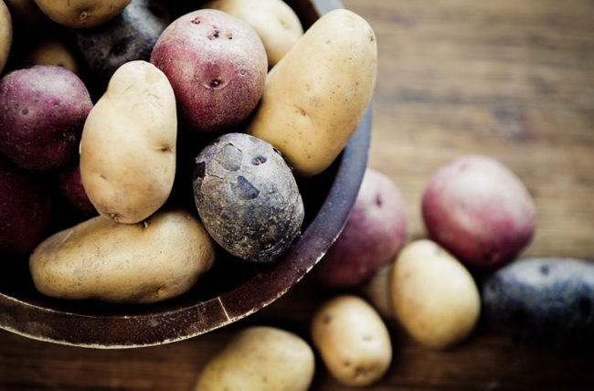 Different kinds of potatoes in a bowl