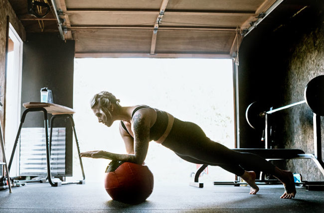 woman working out in her home gym