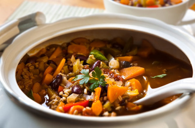 soup with beans carrots and other ingredients providing fiber