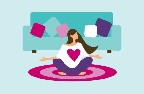 woman practicing yoga and taking care of herself