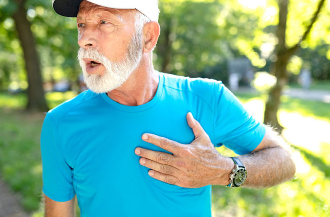 man after exercising with heart pain